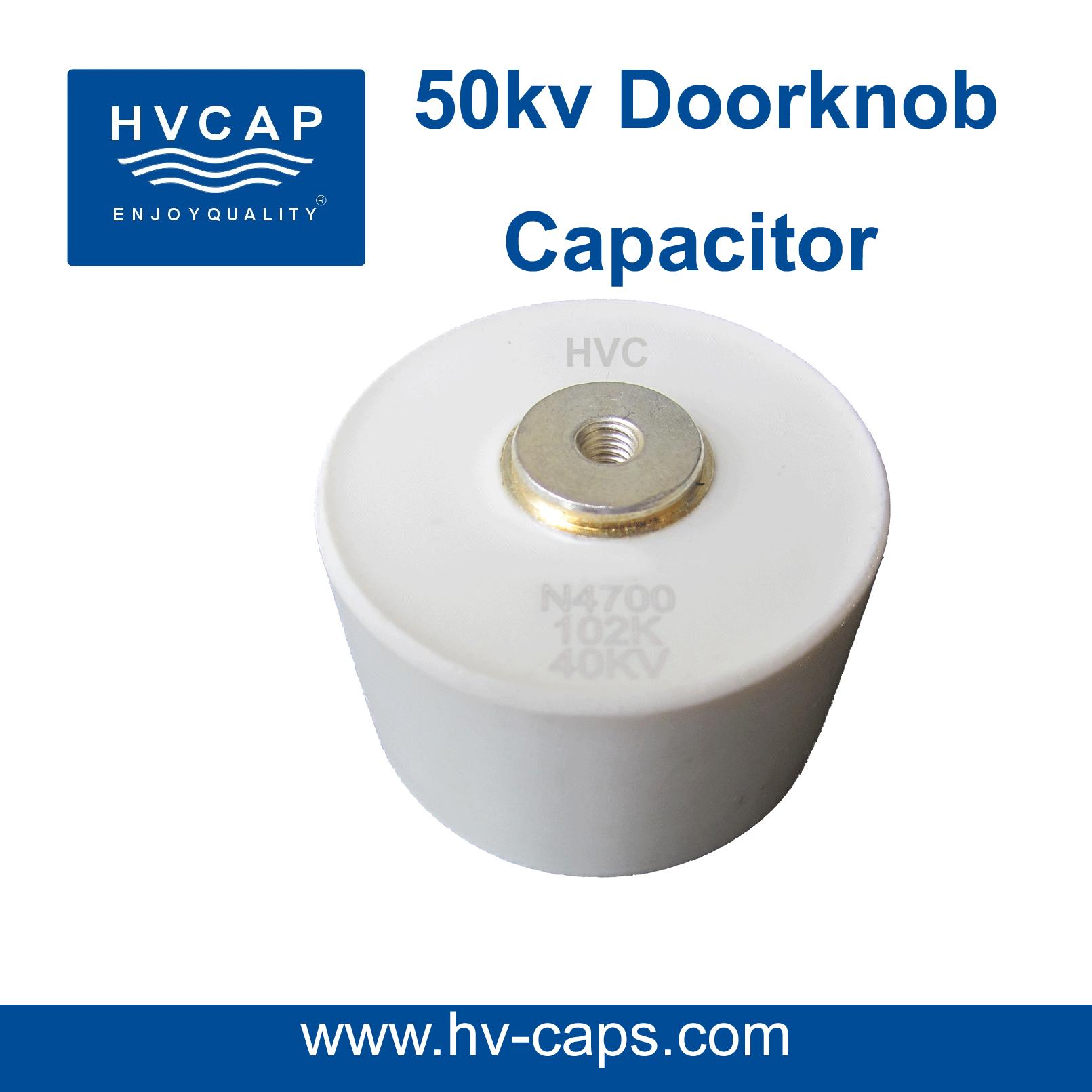 উচ্চ ভোল্টেজ সিরামিক Doorknob ক্যাপাসিটরের 50kv স্পেসিফিকেশন।