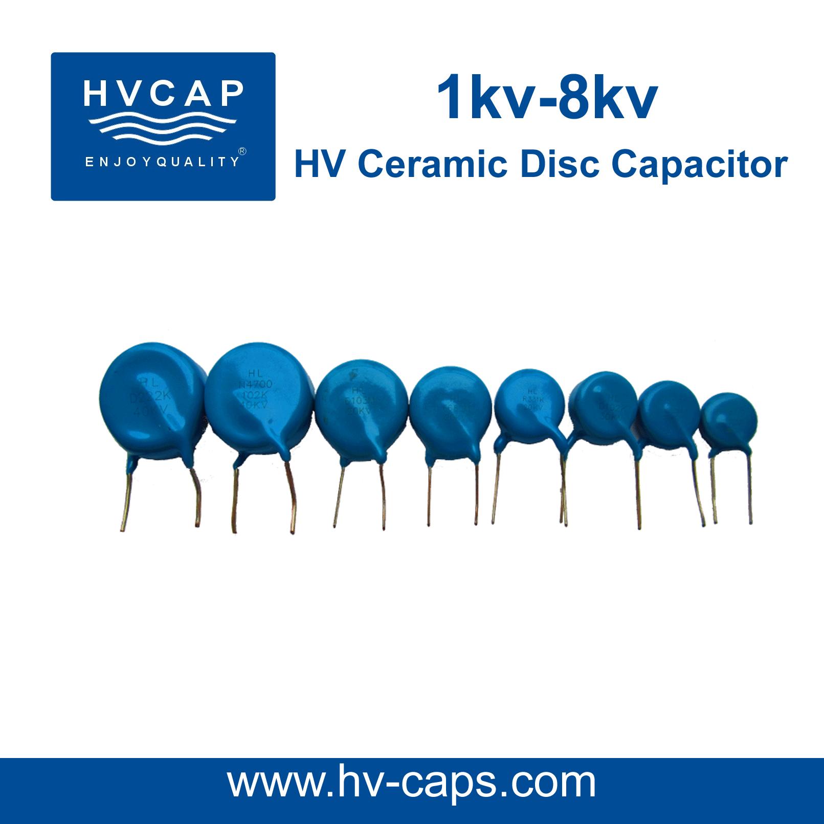 HV Keramiek Kapasitor 1kv na 8kv, detail spesifikasie.