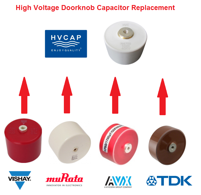 Alternative Replacement Cross Reference for High Voltage Doorknob Capacitor from Vishay,TDK,AVX,Murat