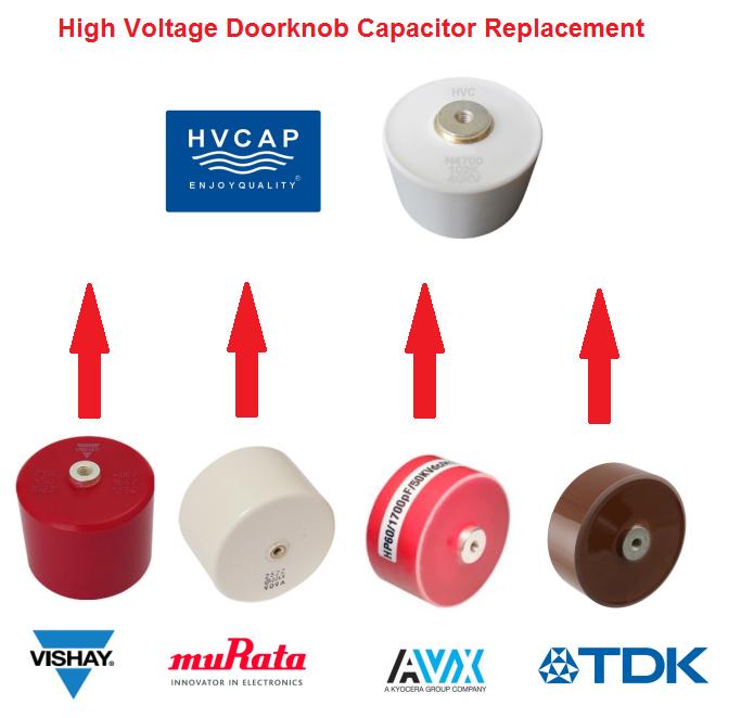 Référence alternatief vir kondensator Doorknob-spanning (Vishay, TDK, AVX, Murata, HVCA).
