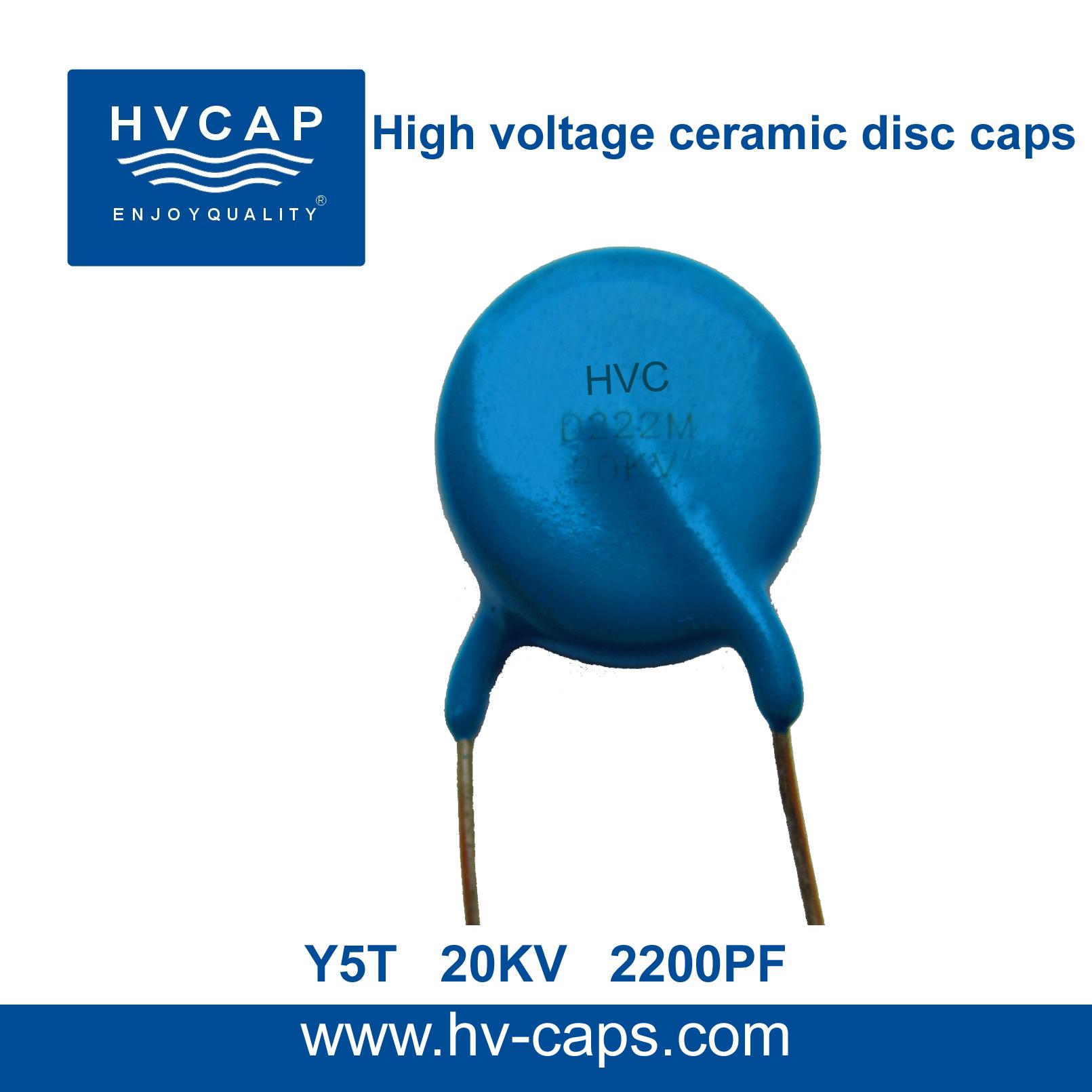 Kondensator i qeramikës me tension të lartë 20KV 2200PF (20KV 222M)