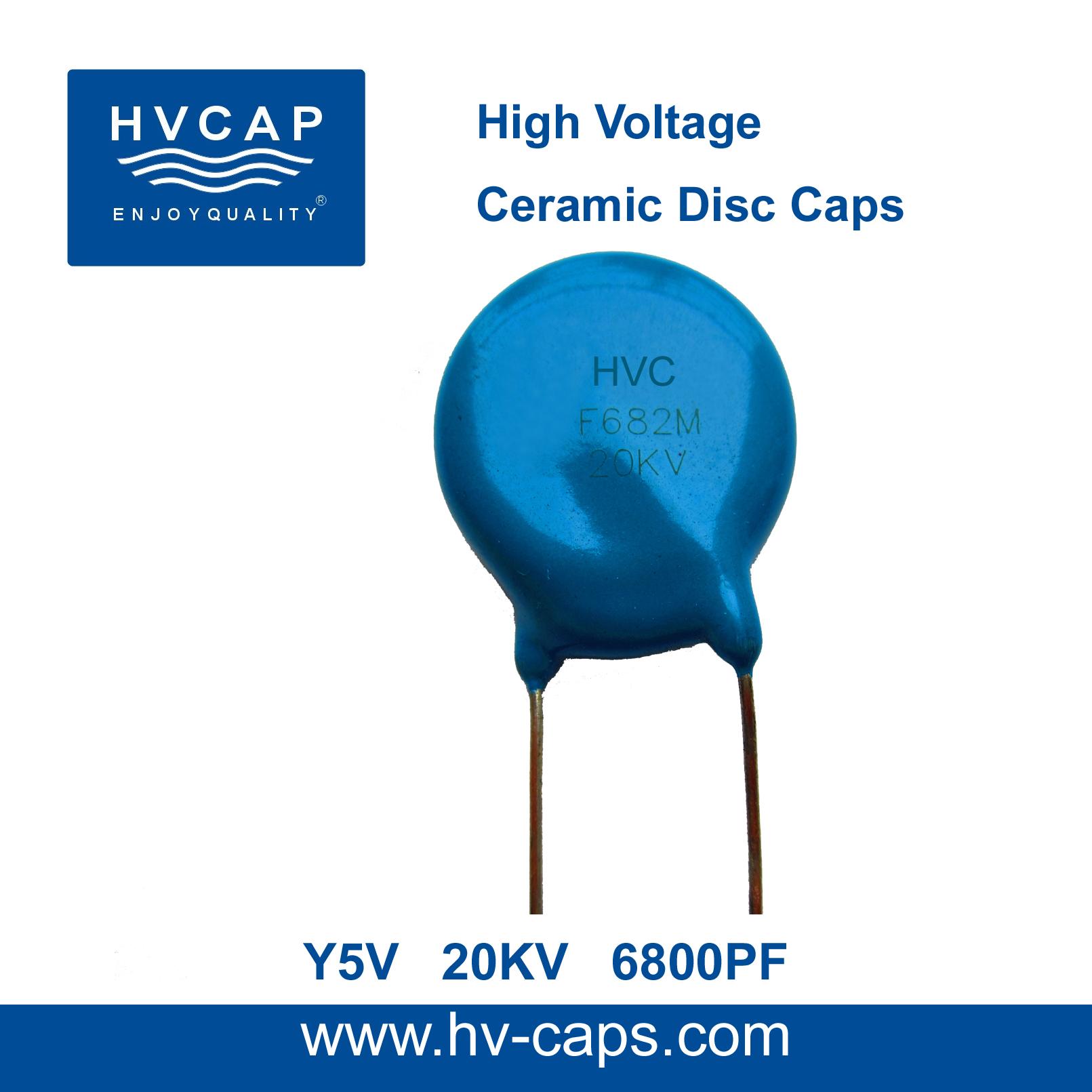 উচ্চ ভোল্টেজ সিরামিক ডিস্ক ক্যাপাসিটর 20KV 6800PF (20KV 682M)