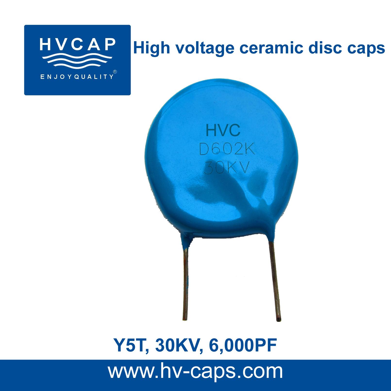 Kondensator me pllaka qeramike me tension të lartë 30KV 6000PF (30KV 602K)